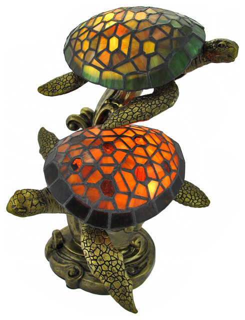 Tiffany Style Swimming Sea Turtles Lamp Amber And Green