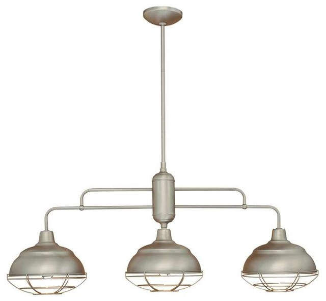 Millennium Lighting Neo Industrial Island Light Satin Nickel Transitional Kitchen Island
