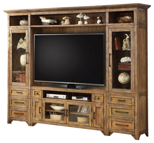 """Entertainment Center 63"""" TV Stand Wall Unit Hunt's Point by Parker House - Farmhouse ..."""