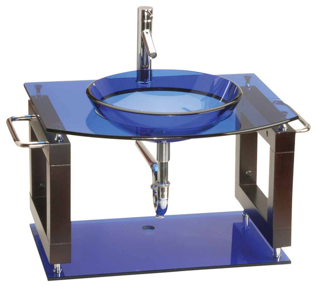 Glass Wall Mount Sink : Console Sink Vanity Blue Wall Mount, Glass/Stainless - Contemporary ...
