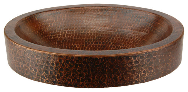 Compact Oval Vessel Sink Copper 13 Rustic Bathroom Sinks Other