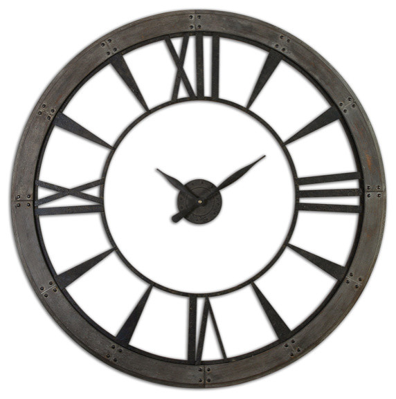 rusted bronze metal large clock with rust gray frame - industrial - wall clocks - other