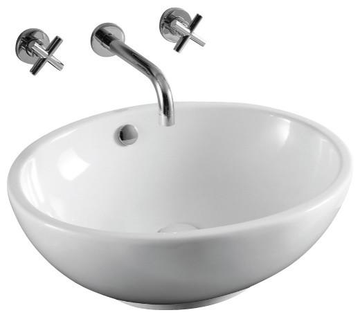 Oval White Ceramic Vessel Bathroom Sink, No Hole contemporary-bathroom ...