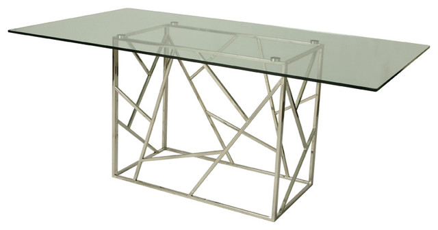 stainless steel dining table glass top 2