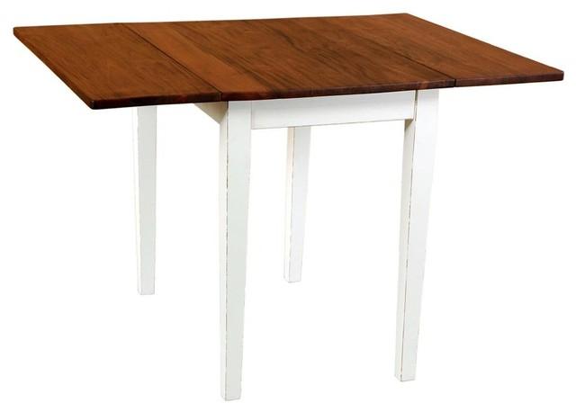 Provence Drop Leaf Table Light Linen Base Rustic Mango Top Contemporary