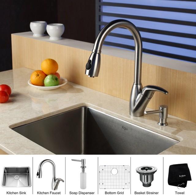Kraus Sinks Uk : Kraus 23 inch Undermount Single Bowl Stainless Steel Kitchen Sink with ...