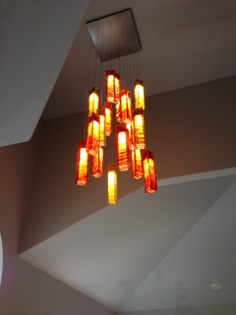 Art Glass Foyer Light : Custom art glass foyer chandelier mediterranean