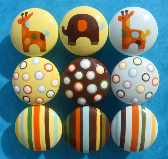 Hand-Painted Drawer Knobs, Animals, Stripes and Polka Dots by Sweet Mix Creation - Contemporary ...
