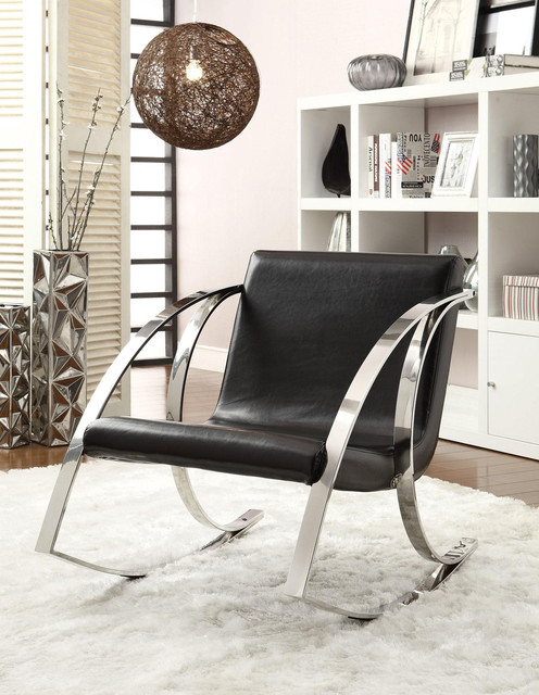 Modern Rocking Accent Chair In Black Vinyl Modern