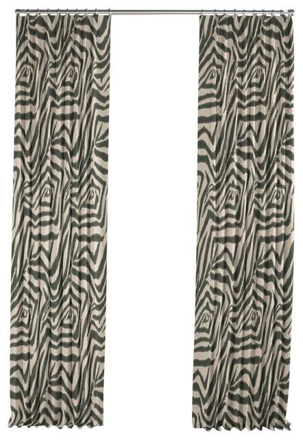... Animal Print Zebra Pleated Curtain, Single Panel contemporary-curtains