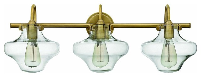 Blown Glass Vanity Light : 50031BC Congress Bath Vanity Light, Brushed Caramel, Hand Blown Clear Glass - Contemporary ...