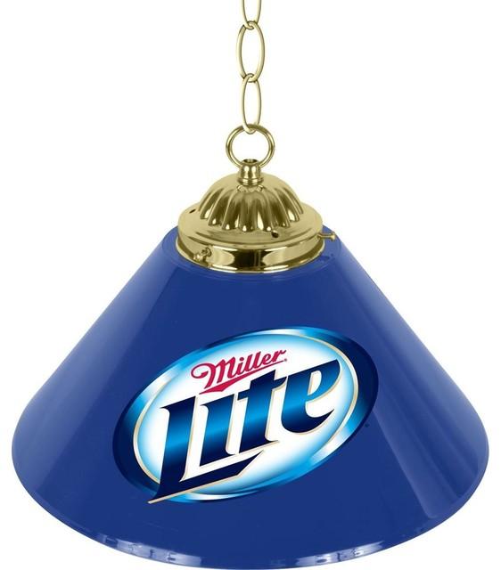 Single Shade Bar Lamp W Miller Lite Logo Contemporary