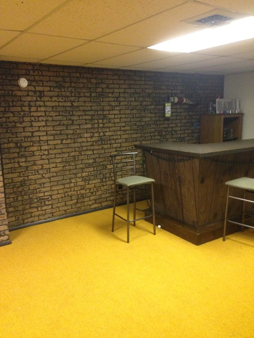 What to do with the basement walls brick paneling What to do with paneled walls