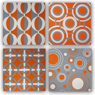 Hand Painted Original Orange Amp Gray Canvas Wall Art Set Modern Artwork Orange County By