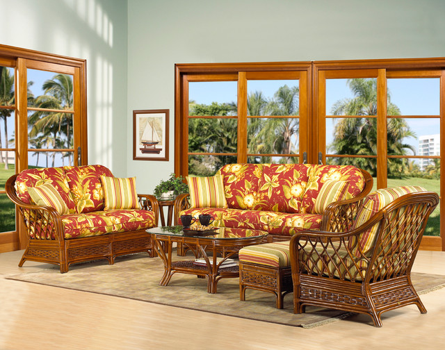 Boca rattan coco cay 6 piece living room set in urban for 6 piece living room set