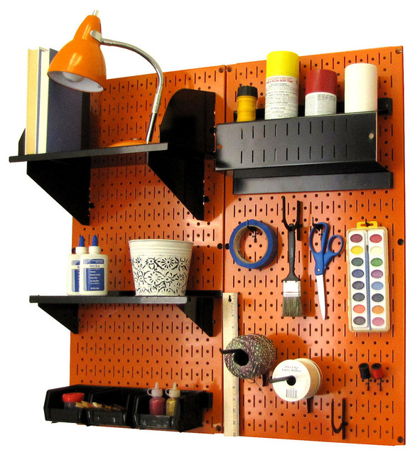 Pegboard Organizer Storage Kit, Orange Pegboard and Black Accessories - Contemporary - Garage ...