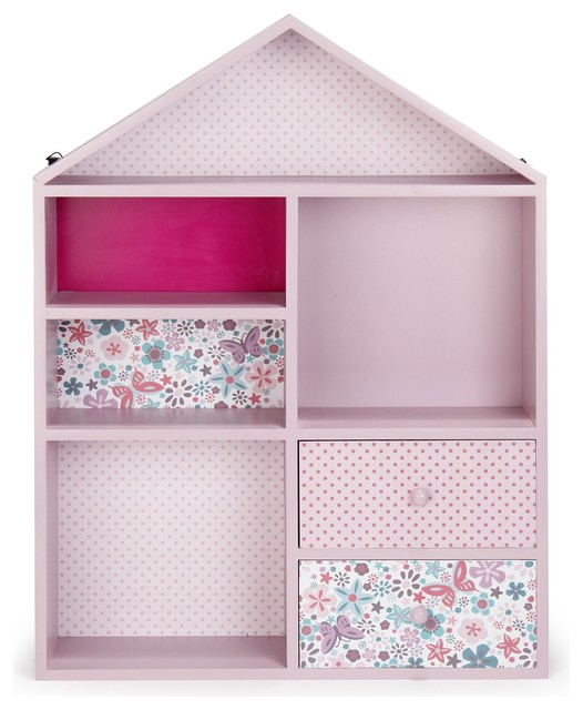 maringa etag re de rangement rose pour enfant en forme de maison contemporain biblioth que. Black Bedroom Furniture Sets. Home Design Ideas