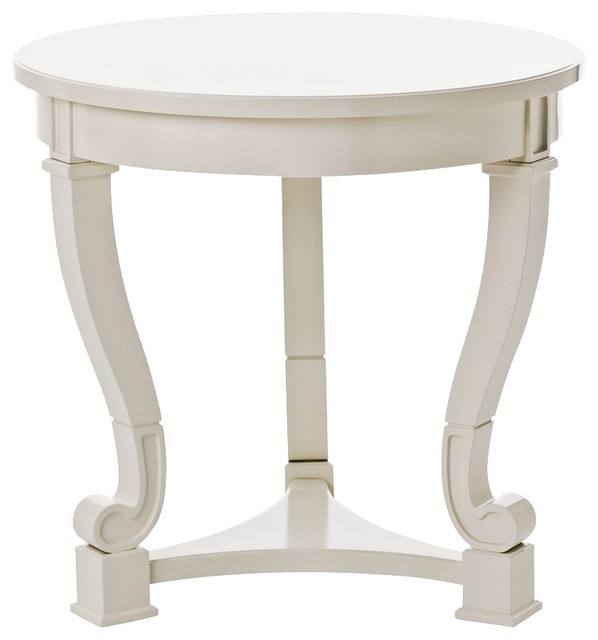 Arteriors home dorothy off white round accent table for Off white round table