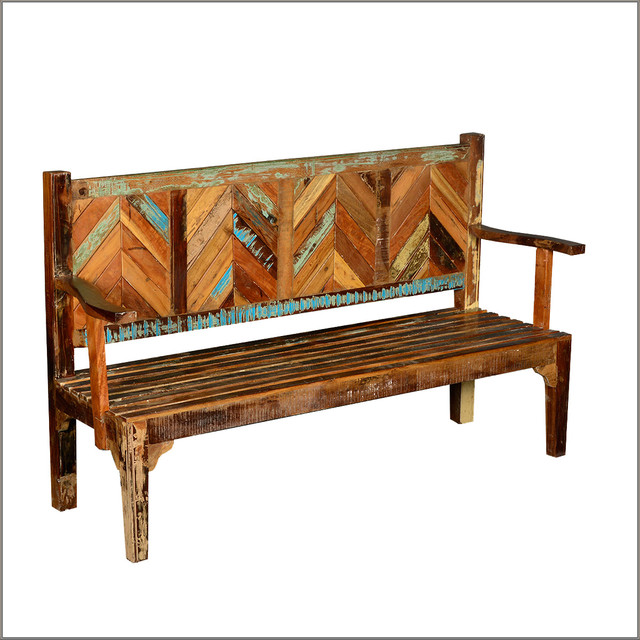 Parquet Reclaimed Wood Rustic High Back Porch Bench Rustic Outdoor Benches San Francisco
