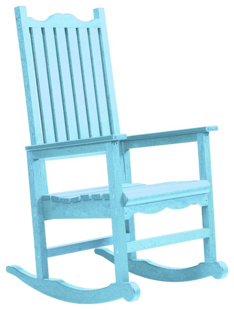 C R Plastics Porch Rocker In Aqua Contemporary Garden Lounge Chairs By