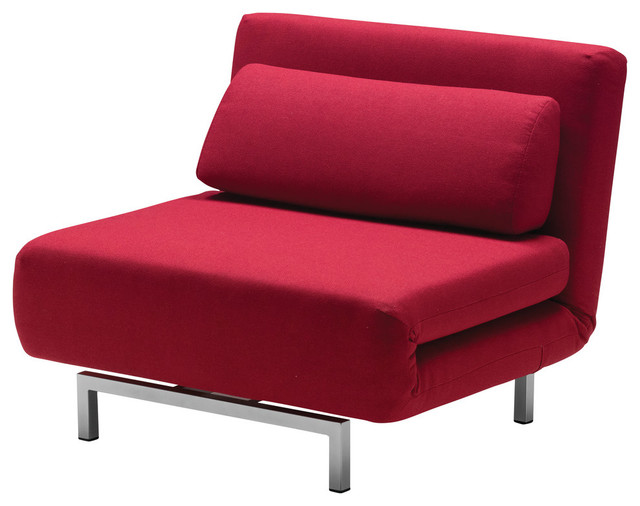 Iso Chair Bed Red Fabric Modern Sleeper Chairs by Mobital USA Inc
