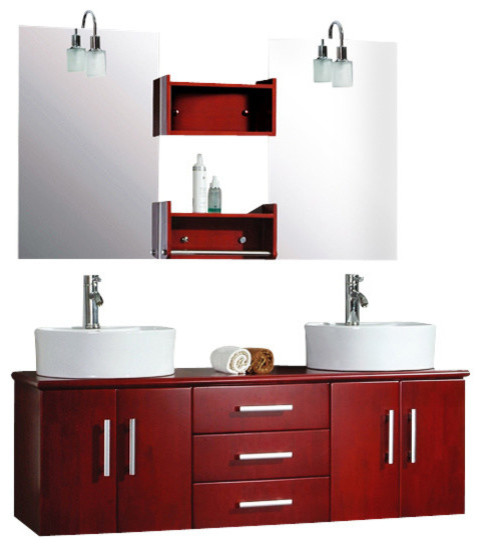 Cambridge 59 Solid Wood Wall Mount Double Vanity Set Chrome Faucet Modern Bathroom