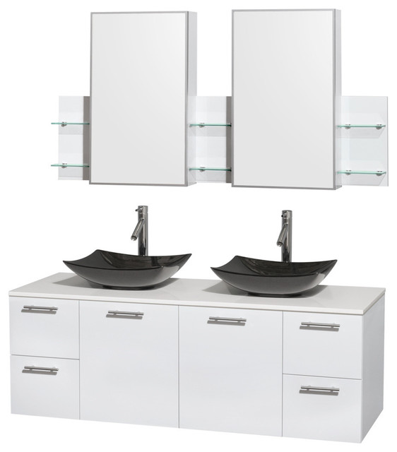"60"" Double Bathroom Vanity, Stone Countertop, Sinks ..."