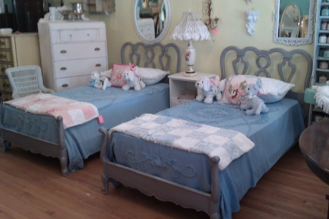 Vintage French Gray Twin Bed Pair Matching Distressed