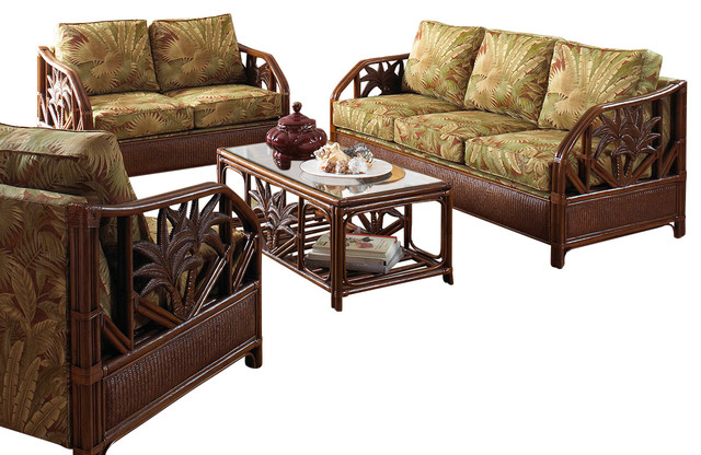 Cancun Palm 5 Piece Tropical Rattan Living Room Set By Hospitality Rattan