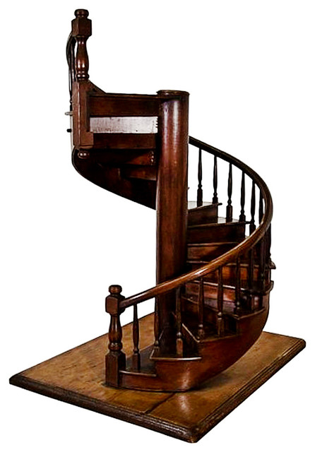 English Edwardian Mahogany Architectural Model Of A Staircase Early 20th Cen