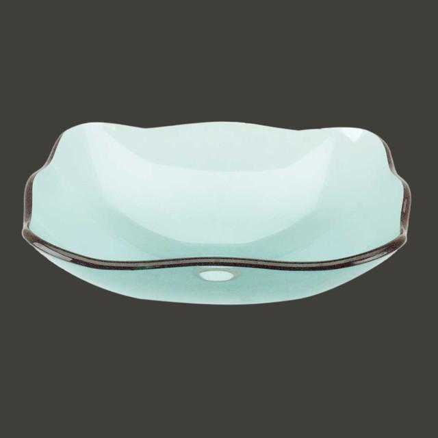 Vessel Sinks Green Glass Tourmaline Petal Rectangular Vessel Sink Modern Bathroom Sinks By