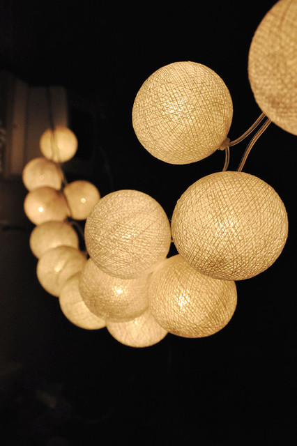 String Lights Balls : Handmade White Cotton Ball String Lights by Ginew - Contemporary - Outdoor Rope And String ...