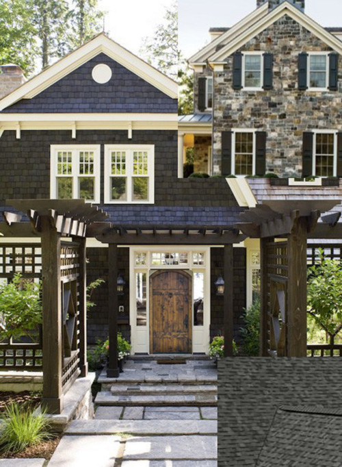 Slate charcoal dark gray house white trim and for White stucco house black trim