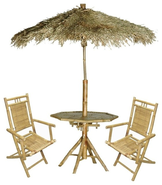 Bamboo Palapa 4 Piece Patio Set Tropical Furniture And Outdoor
