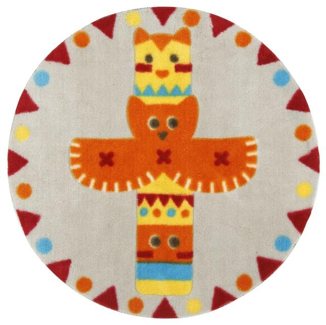 indiana tapis rond d70cm pour enfant motif totem contemporain tapis fantaisie par alin a. Black Bedroom Furniture Sets. Home Design Ideas