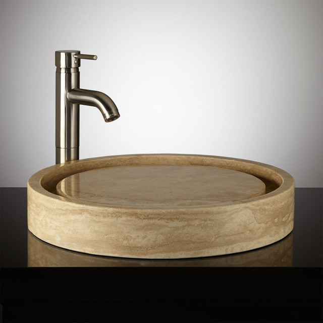 Travertine Sinks Bathroom : Round Polished Travertine Infinity Vessel Sink modern-bathroom-sinks