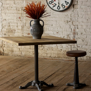 Square wooden top dining table with cast iron base for Traditional dining table bases