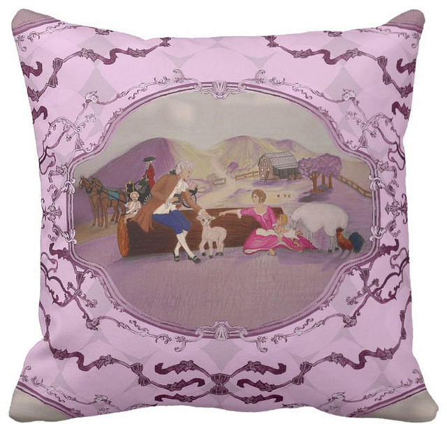 PH&D French Toile Pillow Raspberry Pink French Country Collection - Traditional - Decorative ...
