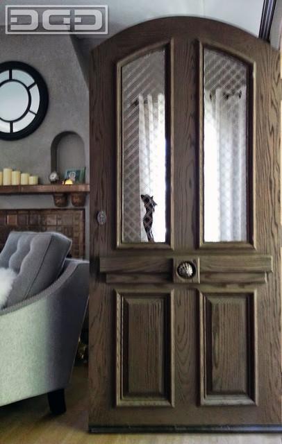 European Style Entry Door In Sandblasted Red Oak Wood