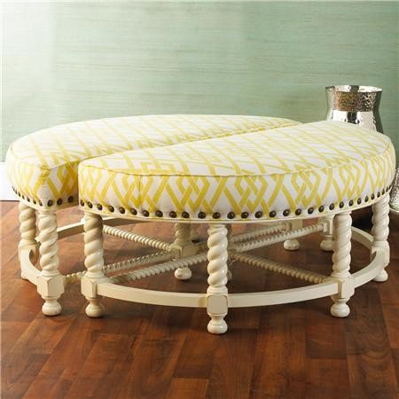 Half Round Nailhead Accent Ottoman Transitional