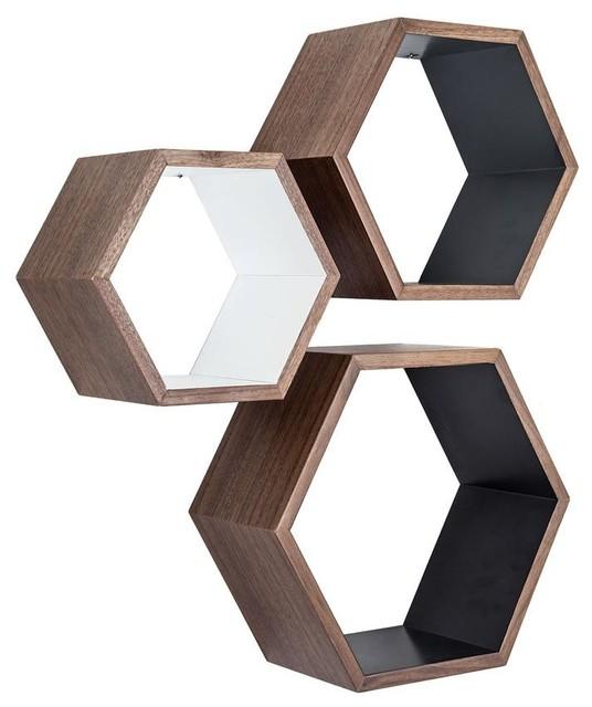 walnut nesting hexagon shelves   set of 3   contemporary