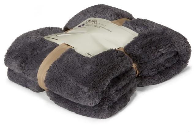 Snogry plaid fourr gris r versible contemporain plaid for Plaid contemporain