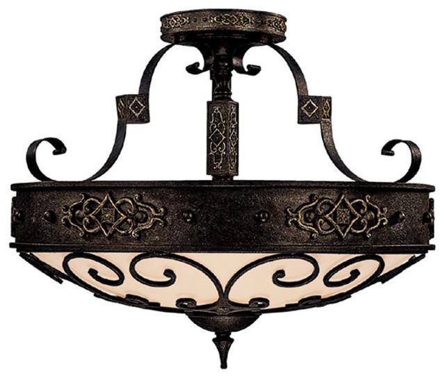 Capital lighting 3615ri river crest 4 light semi flush for Mediterranean lighting fixtures
