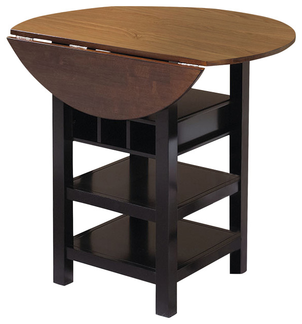 sunset trading quincy pub table in black with cherry finish drop leaf top indoor pub and. Black Bedroom Furniture Sets. Home Design Ideas