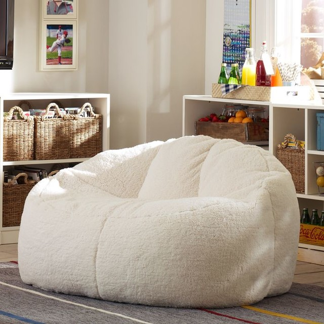 Ivory Sherpa Cloud Couch - Contemporary - Kids Storage Benches And Toy Boxes - by PBteen