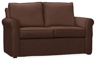 Cameron Roll Arm Love Seat Slipcover Everydaysuede TM Mahogany Traditiona