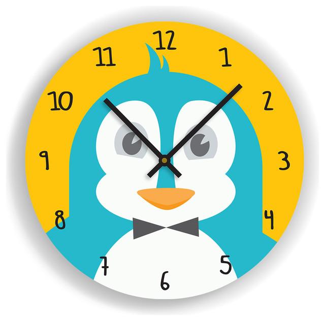 Nursery wall clock penguin illustration kids room for Kids room clock