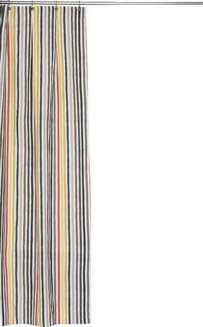 Extra Long Multi Colored Stripe Linen Fabric Shower