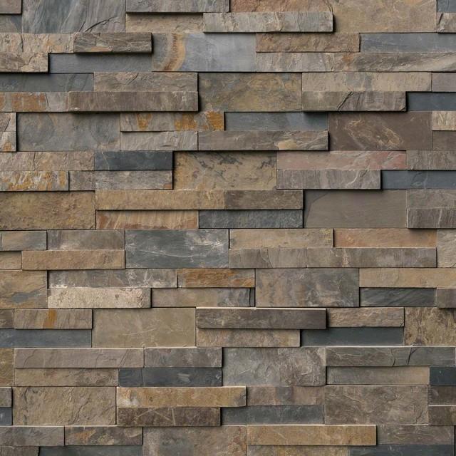 "Slate Bathroom Modern Bathrooms And Rustic: Rustic Gold Slate Stacked Stone Splitface Panels, 6""x18""x6"" Corner, Set Of 5"