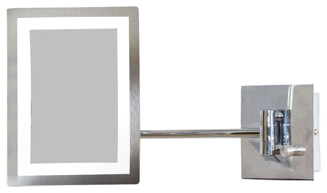 Rectangle Brass Led Wall Mount Magnifying Mirror Aluminum Modern Bathroom Mirrors